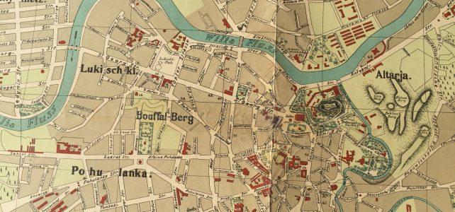 Übergabe eines historischen Stadtplans von 1916 an den Vilniusser Bürgermeister Šimašius